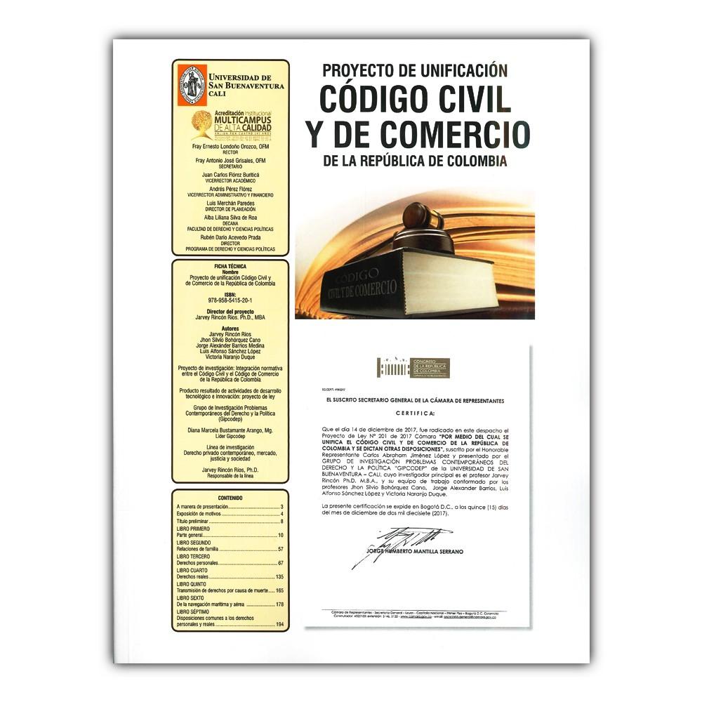 Comprar libro Proyecto de unificación código civil y de comercio de la  República de Colombia
